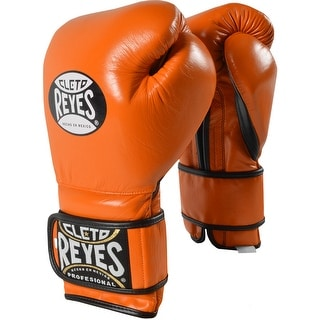 Cleto Reyes Hook and Loop Leather Training Boxing Gloves - Tiger Orange