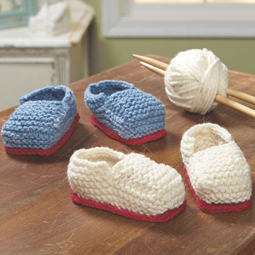 Hand-Knit Wool Baby Booties - Blue 6-12 Months - Hand Made in Ireland - One size