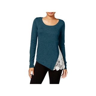 Kensie Womens Sweater Lace Side Scoop-Neck