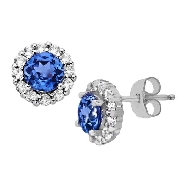 1 3/4 ct Created Ceylon and Created White Sapphire Earrings in 10K White Gold - Blue