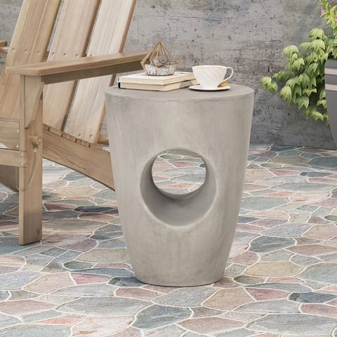"Sirius Outdoor Contemporary Lightweight Concrete Accent Side Table by Christopher Knight Home - 14.50""W x 14.50""D x 18.50""H"