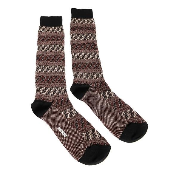 Missoni GM00CMU5243 0001 Maroon/Cream Knee Length Socks - L