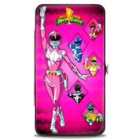 Mmpr Logo Pink Ranger Standing Pose Power Ranger Pose Blocks Pink Hinged Hinge Wallet - One Size Fits most