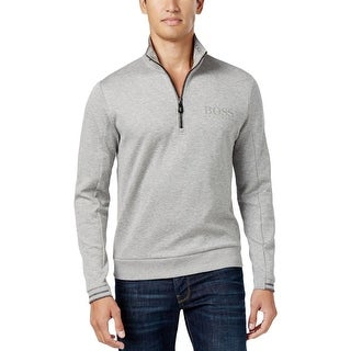 Hugo Boss Mens 1/2 Zip Sweater Stretch Ribbed Trim