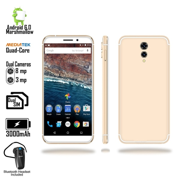 "Indigi 2018 GSM Unlocked 4G LTE Android 6.0 Marshmallow 5.6"" SmartPhone [Quad-CORE @ 1.2GHz + 2SIM] + Bluetooth Headset"