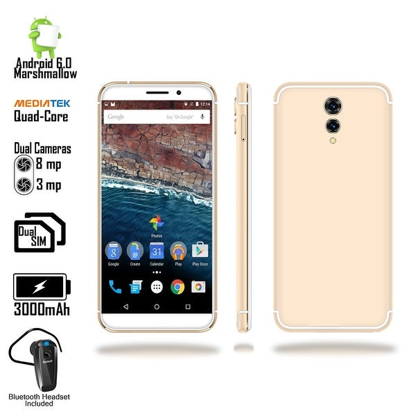 "Indigi GSM Unlocked 4G LTE 5.6"" SmartPhone [ Android 6 + QuadCORE @ 1.3GHz + DualSIM + Fingerprint Scan) + Bluetooth Headset"