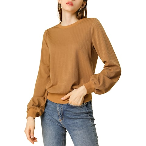 Women's Crew Neck Pullover Blouson Top Classic Ribbed Sweater - Brown