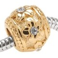 22K Gold Plated Large Hole Barrel Bead Flowers Adorned With SWAROVSKI ELEMENTS Crystals (1) - Thumbnail 0