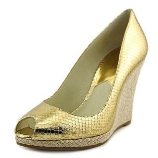 Michael Michael Kors Keegan Wedge Women Open Toe Patent Leather Wedge Heel