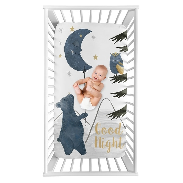 Woodland Bear and Owl Boy or Girl Photo Op Fitted Crib Sheet - Navy Blue Grey Gold Black Celestial Moon Star Watercolor Forest. Opens flyout.
