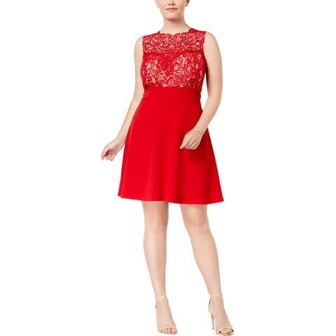 Love Squared Womens Plus Party Dress Lace Textured