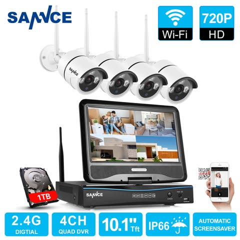 SANNCE 4CH WIFI Indoor Outdoor 720P CCTV Security Cameras System with Monitor
