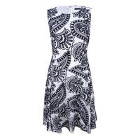Tommy Hilfiger Women's Paisley-Embroidered Fit & Flare Dress - Black/Ivory