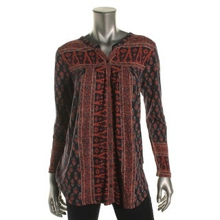 Lucky Brand Womens Casual Top Printed Button-Down - l