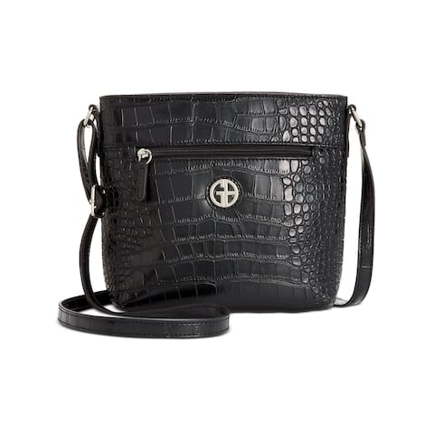 Giani Bernini Women's Black Snake Print Faux Leather Adjustable Strap Crossbody Handbag Purse