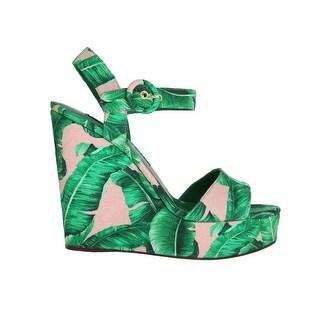 Dolce & Gabbana Dolce & Gabbana Green Banana Leaf Wedges Platform Sandals - eu39-us8-5