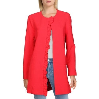 Link to Tahari ASL Womens Topper Jacket Ruffled Long - Red Kiss Similar Items in Suits & Suit Separates