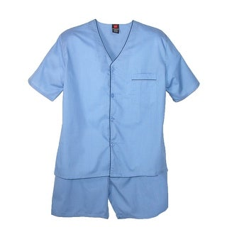 Hanes Men's Short Sleeve Short Leg Pajama Set - Blue