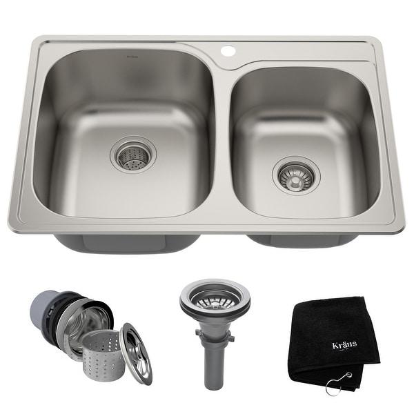 KRAUS Stainless Steel 33 inch 60/40 Topmount Drop-in Kitchen Sink. Opens flyout.