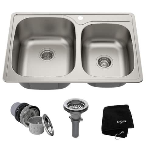 KRAUS Stainless Steel 33 inch 60/40 Topmount Drop-in Kitchen Sink