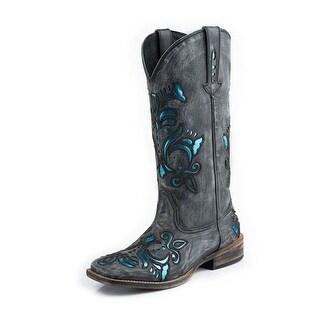 Roper Western Boots Womens Silver Underlay Black 09-021-0901-0672 BR