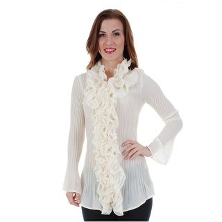 Cathaya Women's Ivory Ruffled Trim Embellished Pleated Long Sleeve Shirt
