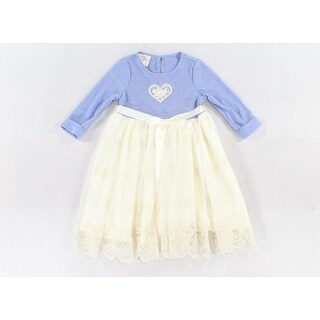Laura Ashley NEW Blue Ivory Size 4 Ribbed Embroidered-Heart Lace Dress