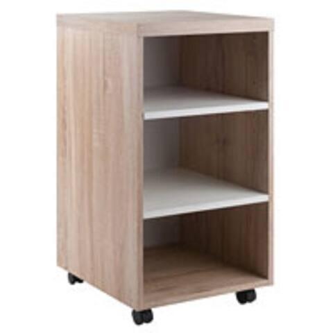 "29.25"" Beige and White Storage Cabinet with Three Shelf"