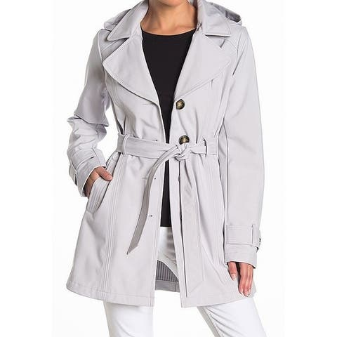 Sebby Gray Womens Large L Water-Resistant Waterproof Trench Coat