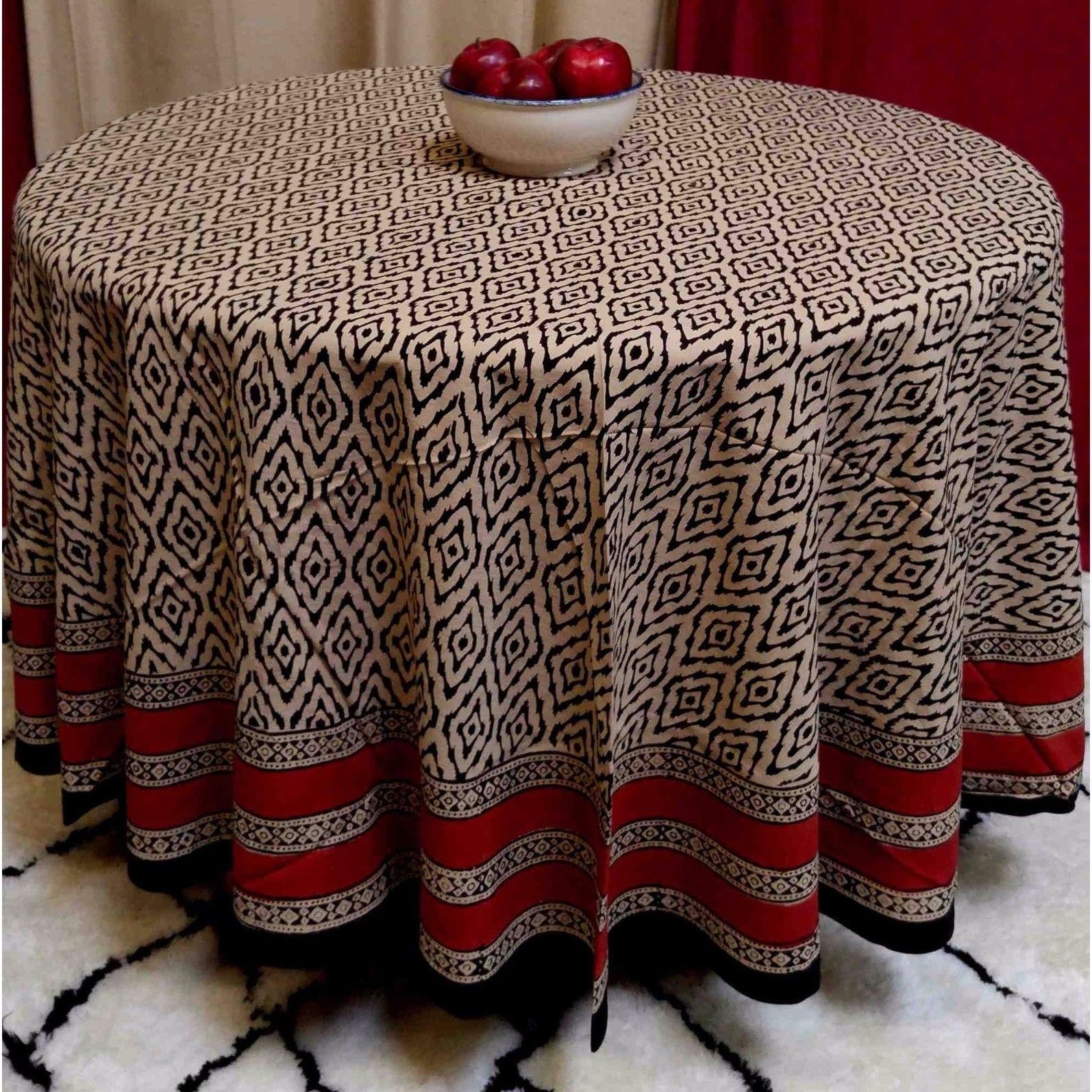 "Handmade 100% Cotton Dabu Block Print Tablecloth 90"" Round Beige Tan - Thumbnail 0"