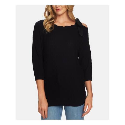 CECE Womens Black 3/4 Sleeve Jewel Neck Top Size S