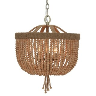 "elight DESIGN ED08603 3 Light 16-1/4"" Wide Chandelier with Wooden Bead Strands"