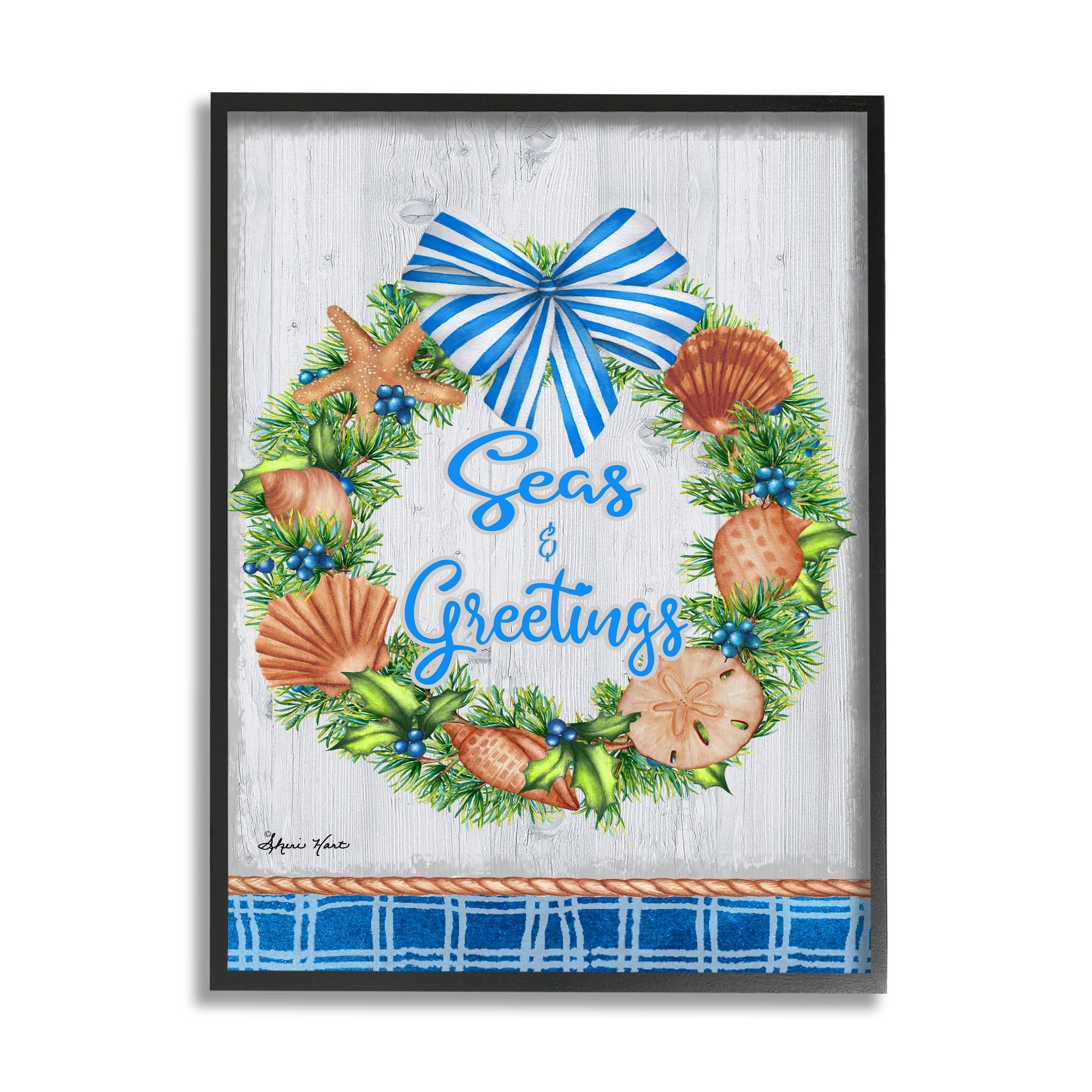 Stupell Industries Seas And Greetings Nautical Holiday Wreath Framed Wall Art Multi Color Overstock 32077527