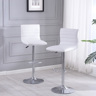 Belleze Modern White Faux Leather Swivel Adjustable Barstools Hydraulic Counter Stools (Set of 2)