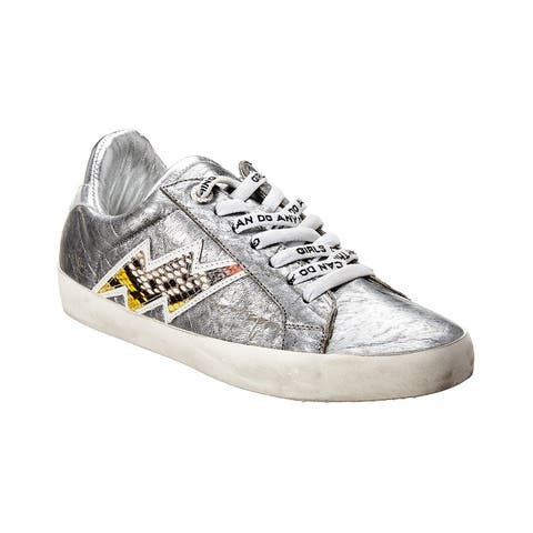 Zadig & Voltaire Flash Ace Leather Sneaker - Silver