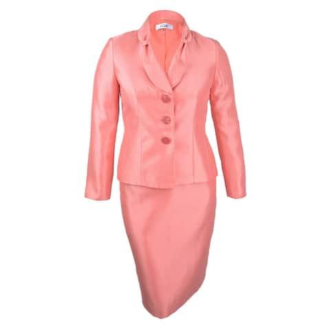 Le Suit Women's Petite Shimmer Skirt Suit (16P, Apricot) - Apricot - 16P
