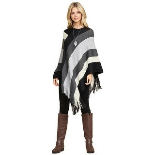Riah Fashion's Tri-Tone Color Block Fringe Poncho - One size
