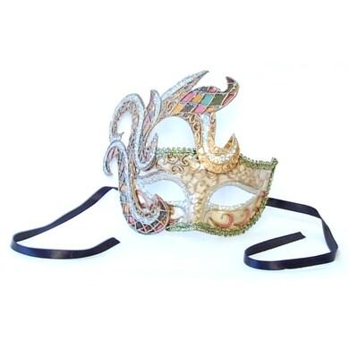 Mika Costume Mask: Beige/Gold/Pink - White