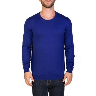 Prada Men's Cotton Cashmere Crewneck Blend Sweater Blue
