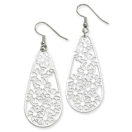 Chisel Stainless Steel Flower Teardrop Wire Earrings