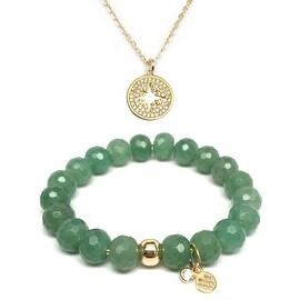 "Green Aventurine 7"" Bracelet & CZ Starburst Gold Charm Necklace Set"
