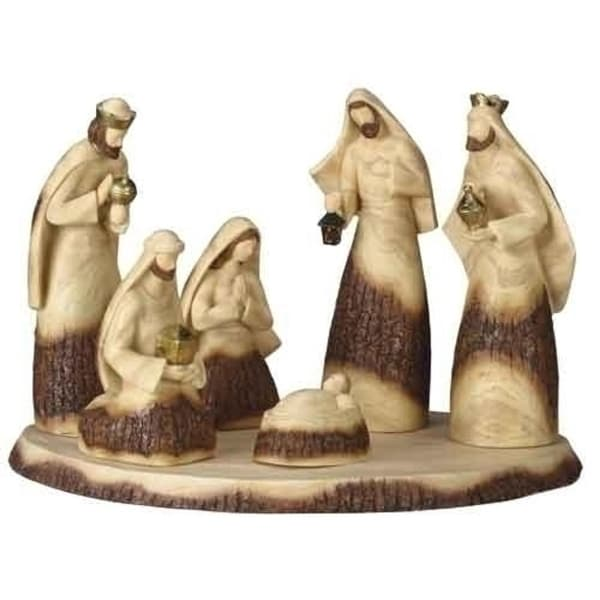 Set of 7 Inspirational Wood Look Religious Christmas Nativity Scene with Base - brown