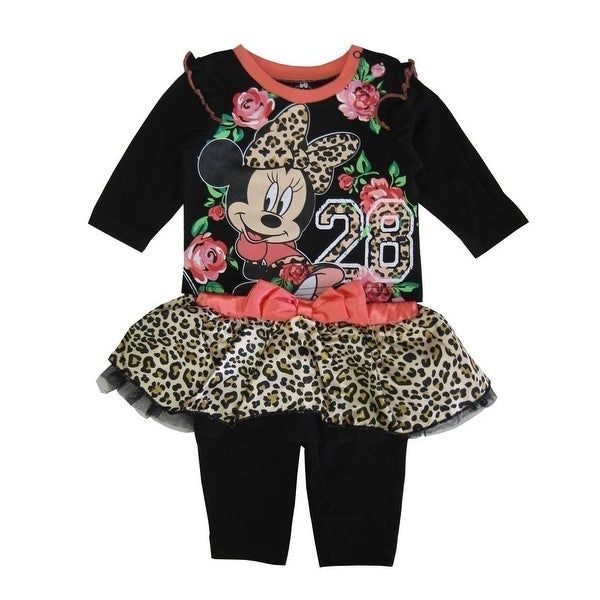 Disney Baby Girls Black Coral Leopard Minnie Mouse Pant Outfit 3-9M