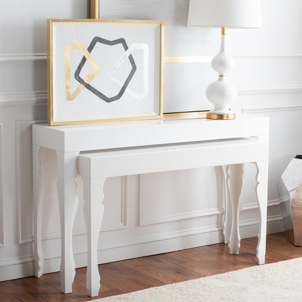 """SAFAVIEH Beth White Lacquer Nesting Table - 51"""" x 13.3"""" x 31.5"""". Opens flyout."""