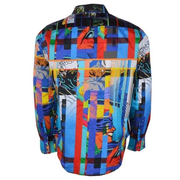 NEW Robert Graham $268 BLINDFOLD Neon Pop Art Kevin T Kelly Button Down Shirt