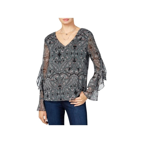 BCX Womens Juniors Blouse Sheer Metallic