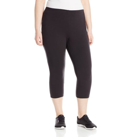 Just My Size Black Womens Size 3X Plus Capri Stretch Leggings