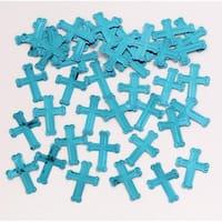 "Club Pack of 12 Blue Religious Cross Celebration Confetti Sprinkle 4"""