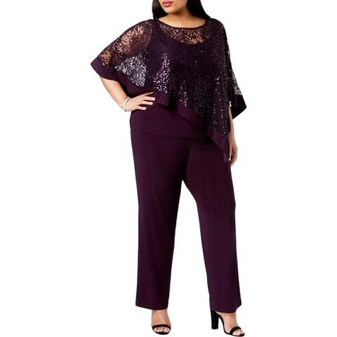R&M Richards Womens Plus Pant Suit Sequined Lace