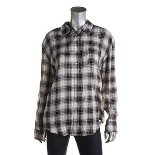 Elizabeth and James Womens Polo Top Plaid Button-down